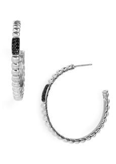 John Hardy Bedeg Diamond & Black Sapphire Medium 38mm Hoop Earrings