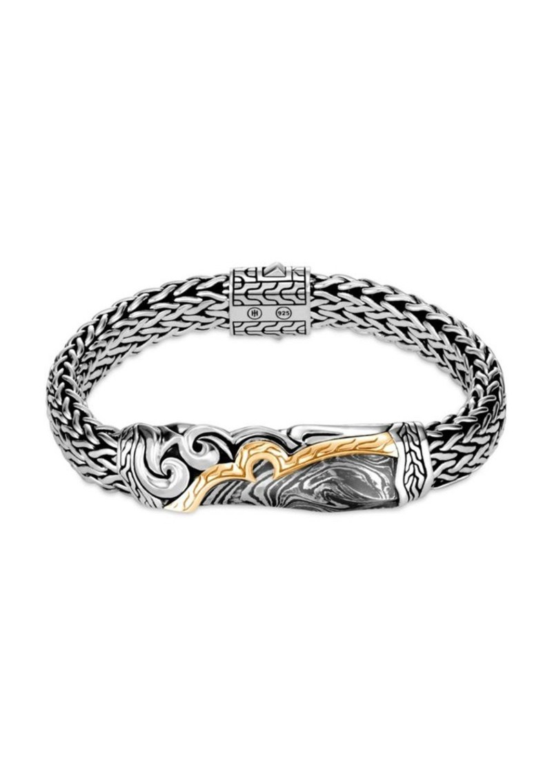 John Hardy Classic Chain 18K Yellow Gold & Silver Large Flat Chain Bracelet