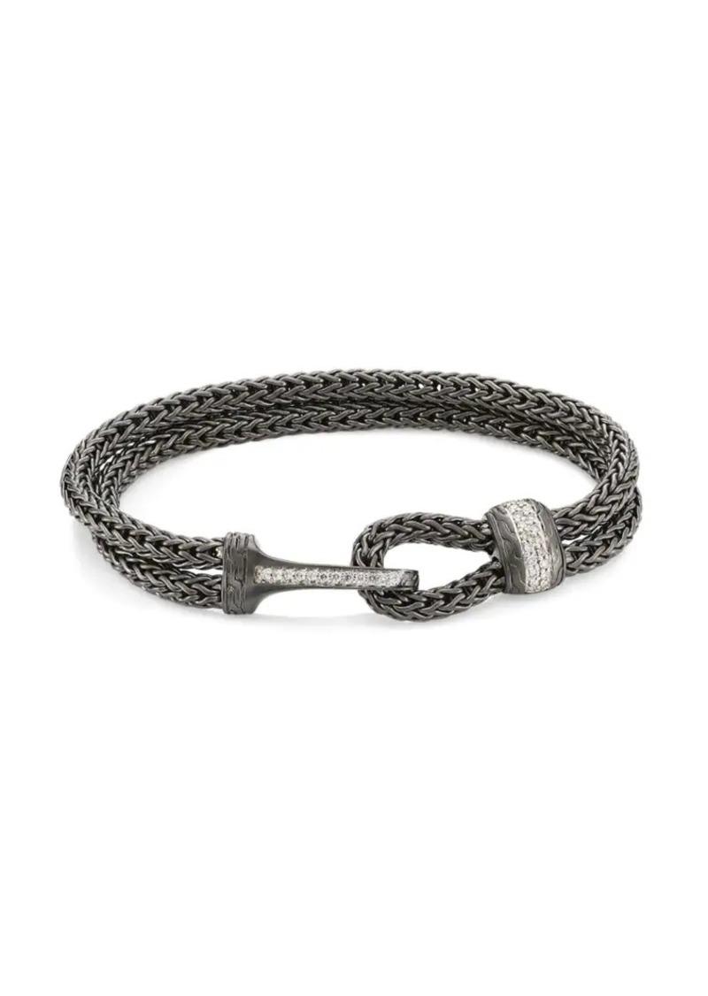 John Hardy Classic Chain Black Rhodium-Plated Sterling Silver & Diamond Pavé Medium Bracelet