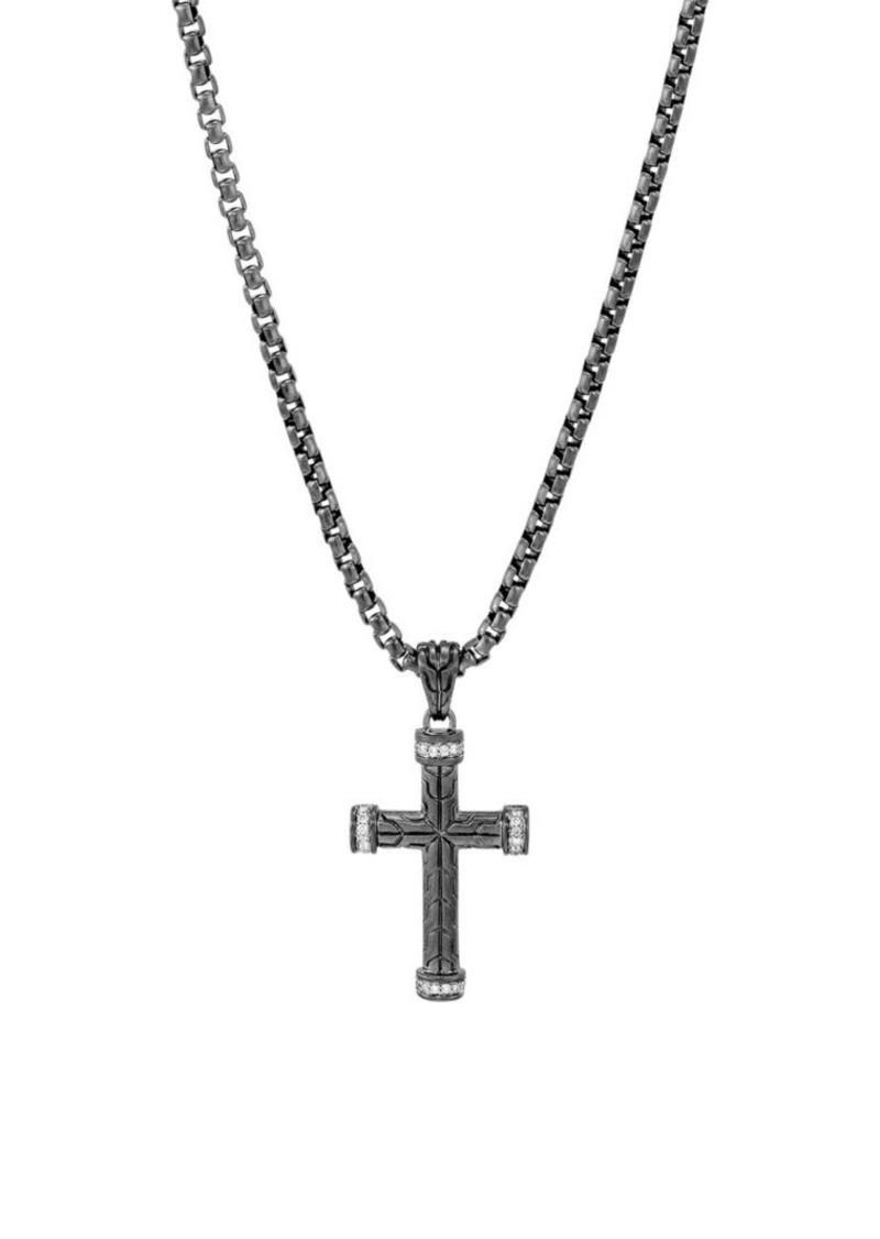 John Hardy Classic Chain Diamond Pavé & Silver Cross Pendant Necklace
