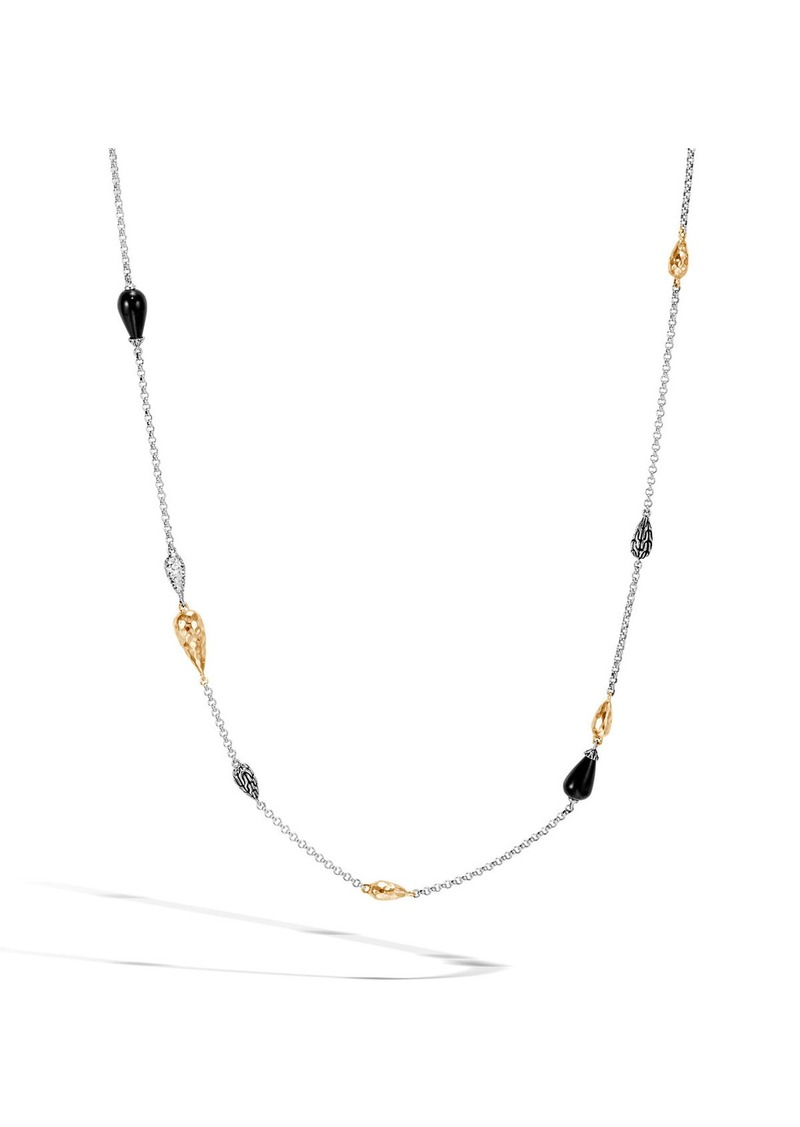 John Hardy Classic Chain Droplet Necklace w/ 18k Gold & Diamonds