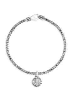 John Hardy Classic Chain Silver & White Diamond Braided Bangle Bracelet