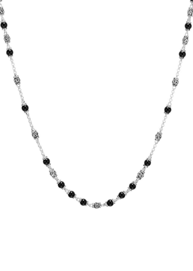 John Hardy Classic Chain Sterling Silver & Black Onyx Beaded Necklace