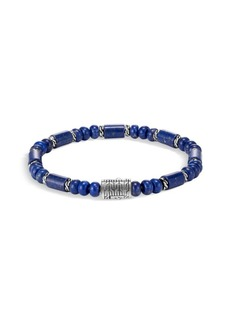 John Hardy Classic Chain Sterling Silver & Lapis Lazuli Beaded Medium Bracelet