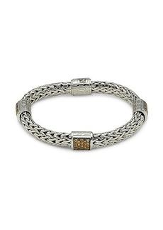 John Hardy Classic Chain Sterling Silver & Mandarin Garnet Bangle Bracelet