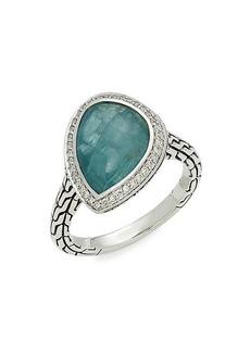 John Hardy Classic Chain Sterling Silver, Diamond & Grandidierite Ring/Size 7