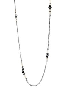 John Hardy Classic Chain Sterling Silver, Milky Rainbow Moonstone, Onyx & Hematite Station Necklace