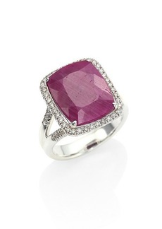 John Hardy Classic Chain Sterling Silver, Ruby & Diamond Ring
