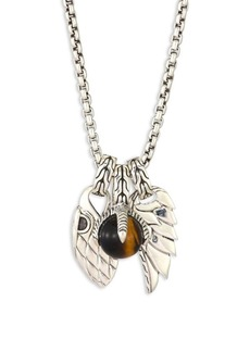 John Hardy Classic Chain Tigers Eye & Sterling Silver Pendant Necklace