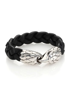 John Hardy Classic Chain Woven Leather Eagle Bracelet
