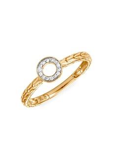 John Hardy Dot 18K Yellow Gold & Diamond Pavé Round Ring