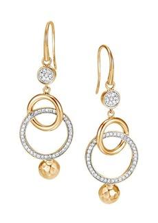 John Hardy Dot Hammered 18K Yellow Gold & Diamond Pavé Orbital Drop Earrings