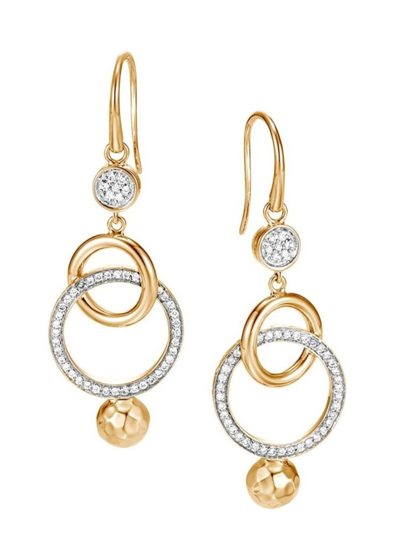 John Hardy Dot Hammered 18K Yellow Gold & Diamond Pavé Orbital Drop Earrings