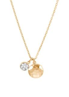 John Hardy Dot Hammered 18K Yellow Gold & Diamond Pendant Necklace