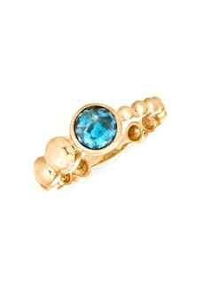 John Hardy Dot Hammered 18K Yellow Gold & Turquoise Gemstone Ring