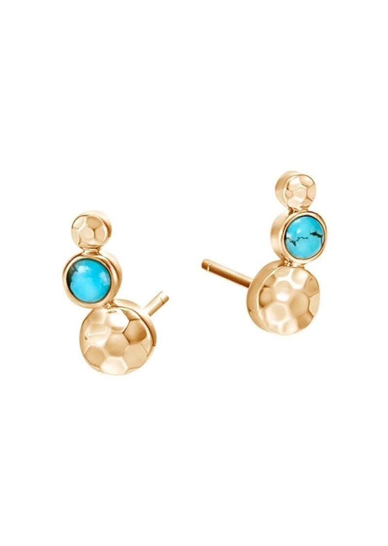 John Hardy Dot Hammered 18K Yellow Gold & Turquoise Stud Earrings