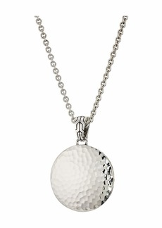 John Hardy Dot Hammered Medium Round Pendant On Silver Round Link Chain 3.1 mm. Necklace