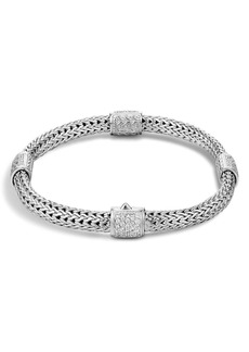 John Hardy 4-Station Bracelet with Diamond Pavé