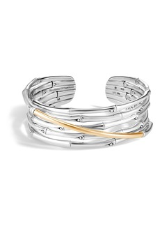 John Hardy Bamboo 18K Gold & Silver Flex Cuff Bracelet