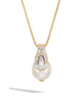John Hardy Bamboo Baroque Pearl & Diamond Pavé Pendant Necklace