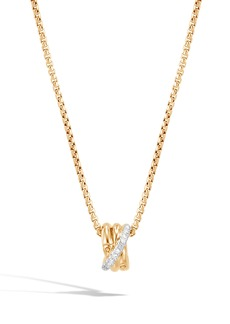 John Hardy Bamboo Diamond Pavé Pendant Necklace