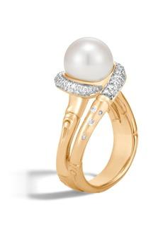 John Hardy Bamboo Freshwater Pearl & Diamond Ring