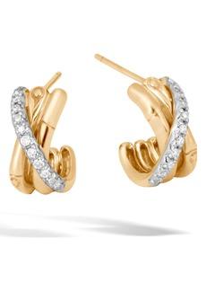 John Hardy Bamboo Gold & Diamond Small J-Hoop Earrings