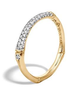 John Hardy Bamboo Gold Diamond Pavé Slim Band Ring