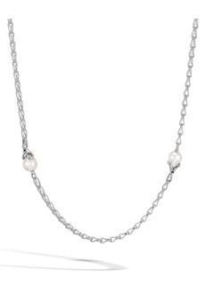 John Hardy Bamboo Pearl Station Necklace