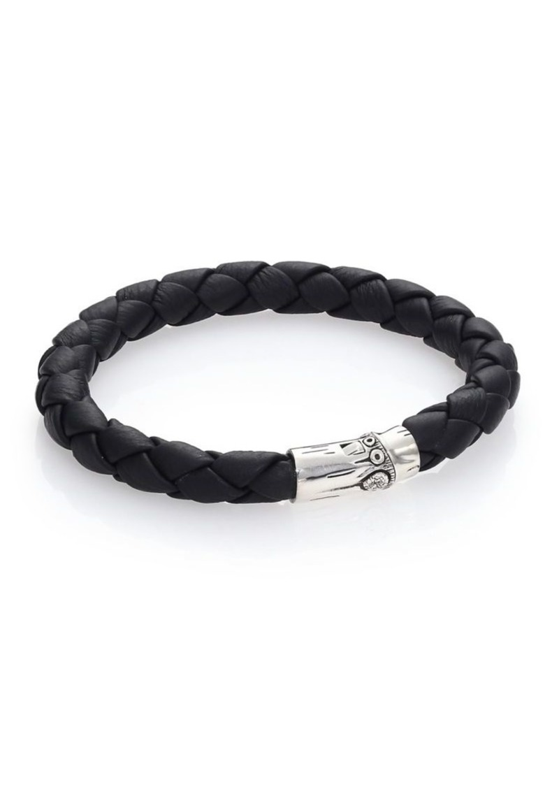 John Hardy Bamboo Woven Leather and Sterling Silver Bracelet