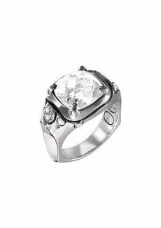 John Hardy Batu Silver Cushion Ring w/ White Topaz