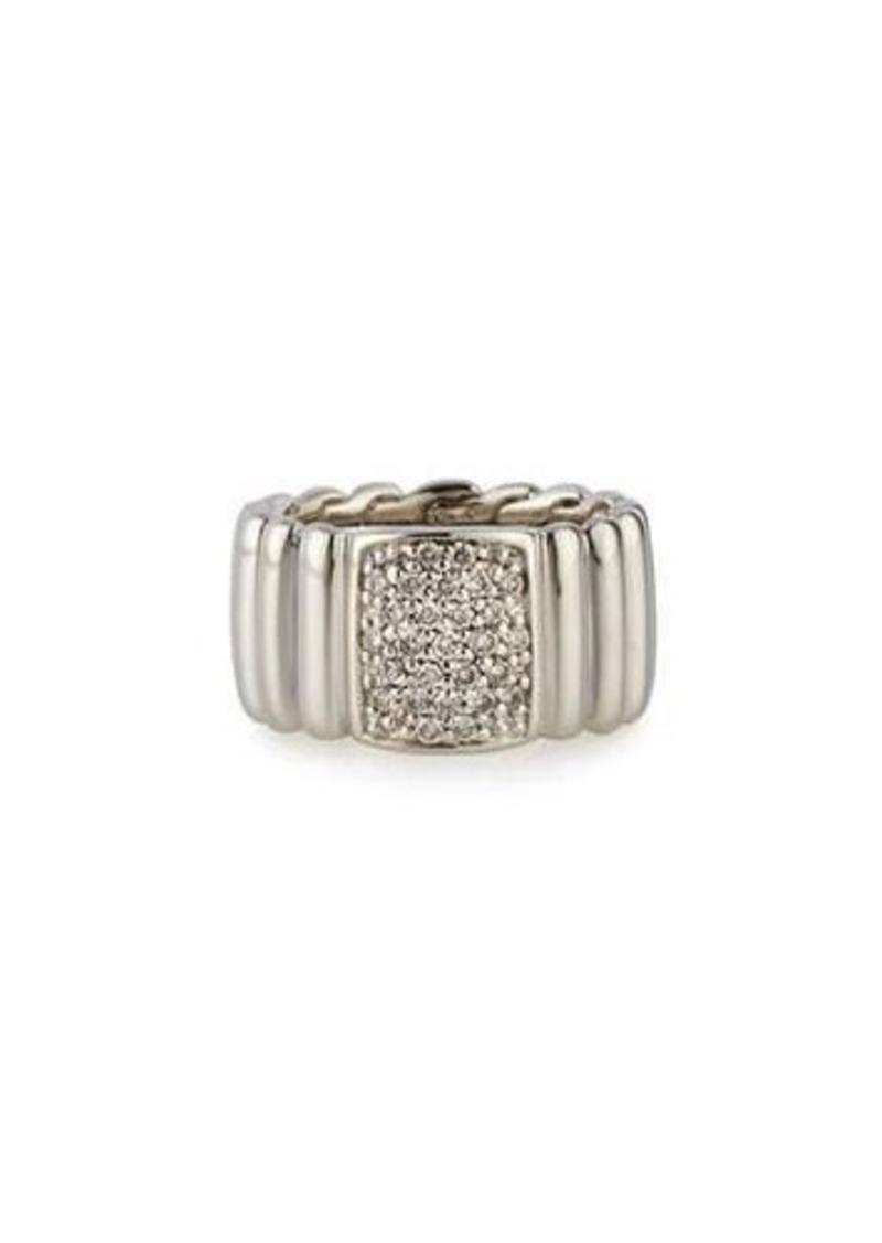 John Hardy Bedeg Silver Wide Band Ring with Pavé Diamonds