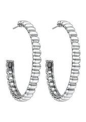 John Hardy Bedeg Sterling Silver Rippled Hoop Earrings