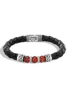 John Hardy Men's Black Leather Classic Chain Bead Bracelet