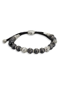 John Hardy Black Tourmaline, Sterling Silver and Black Bronze Bead Bracelet