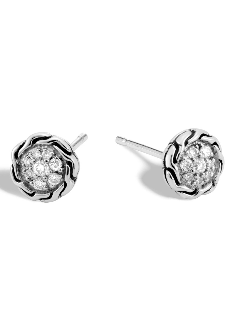 John Hardy Chain Classic Pavé Diamond Stud Earrings