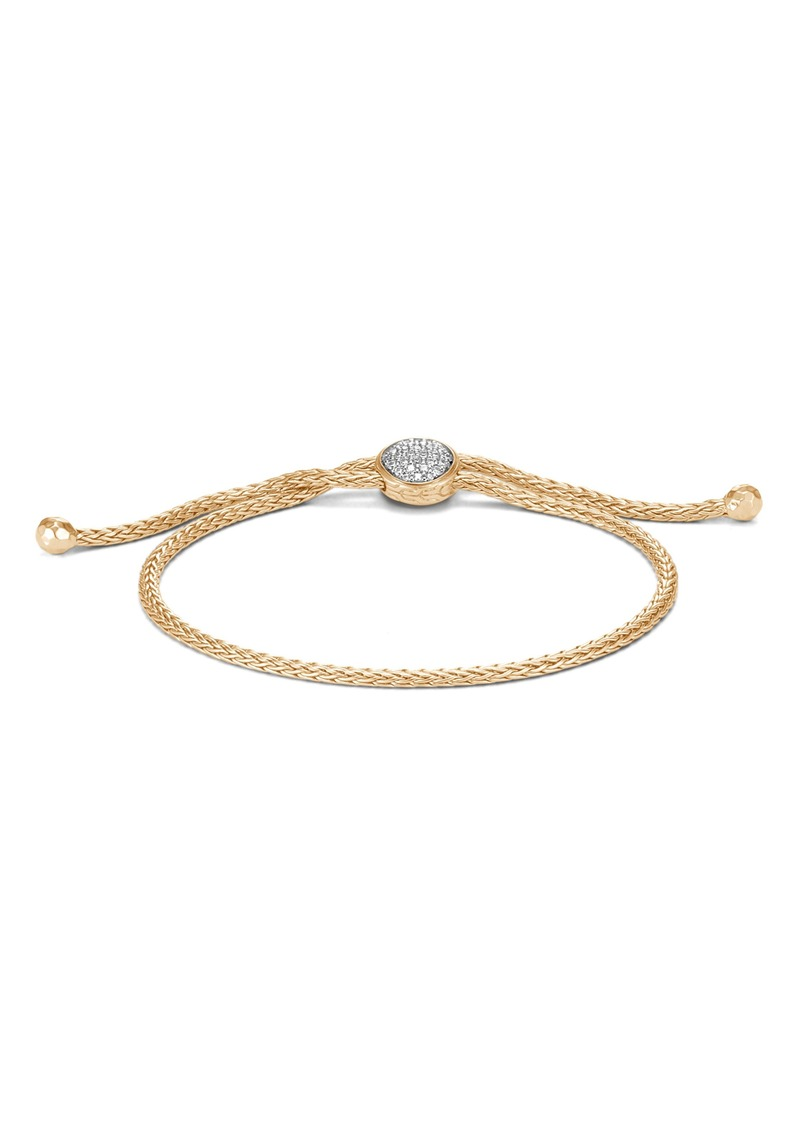 John Hardy Classic Chain 18K Gold & Diamond Pavé Pull Through Bracelet