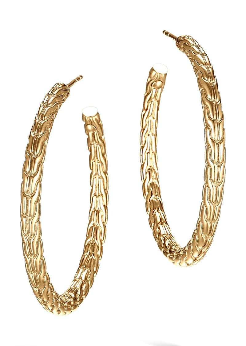 John Hardy Classic Chain 18k Gold Medium Hoop Earrings