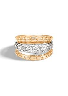 John Hardy Classic Chain Diamond Pavé & 18K Gold Ring