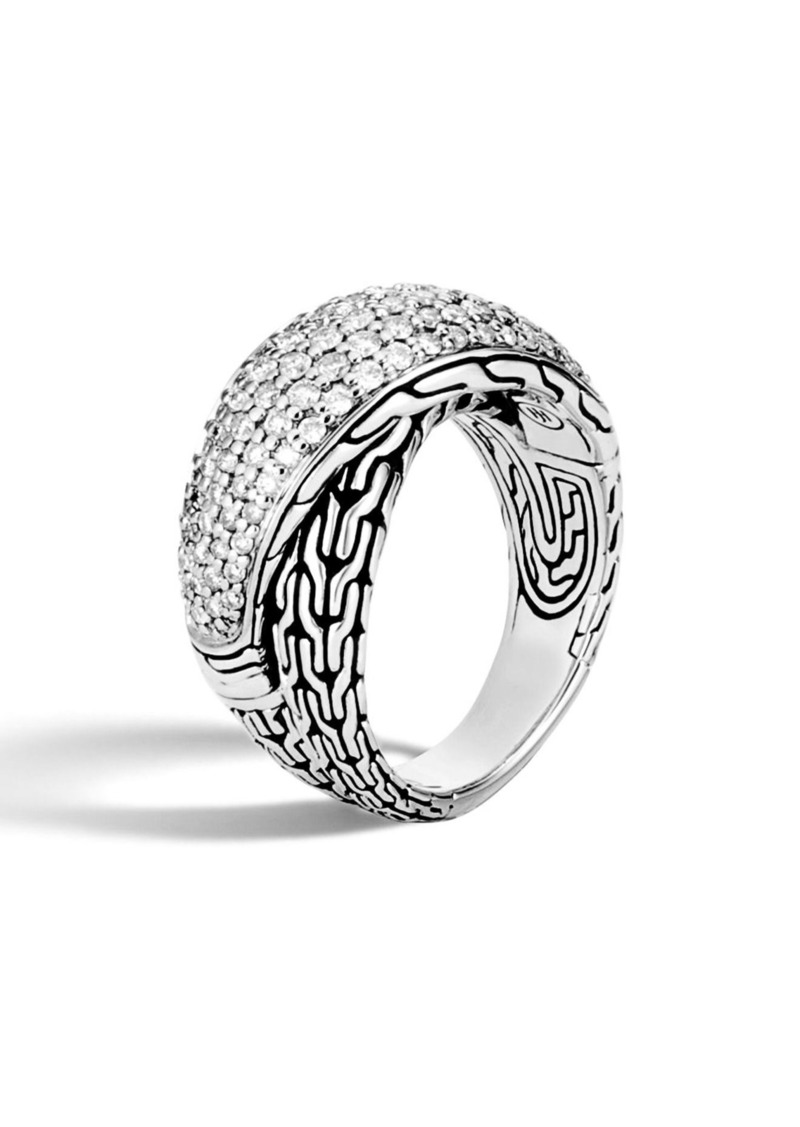 John Hardy Classic Chain Diamond Pavé Crossover Ring
