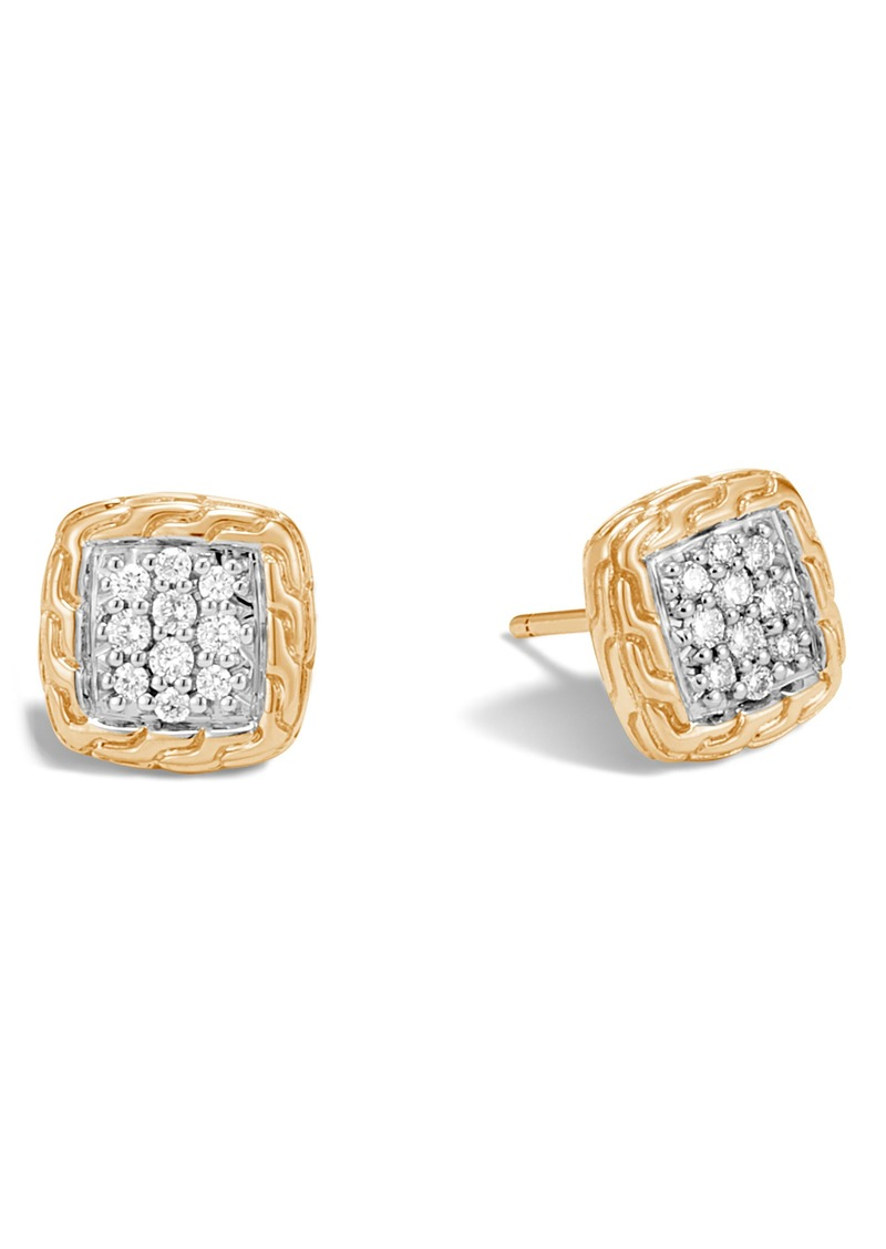 John Hardy Classic Chain Diamond Pavé Stud Earrings