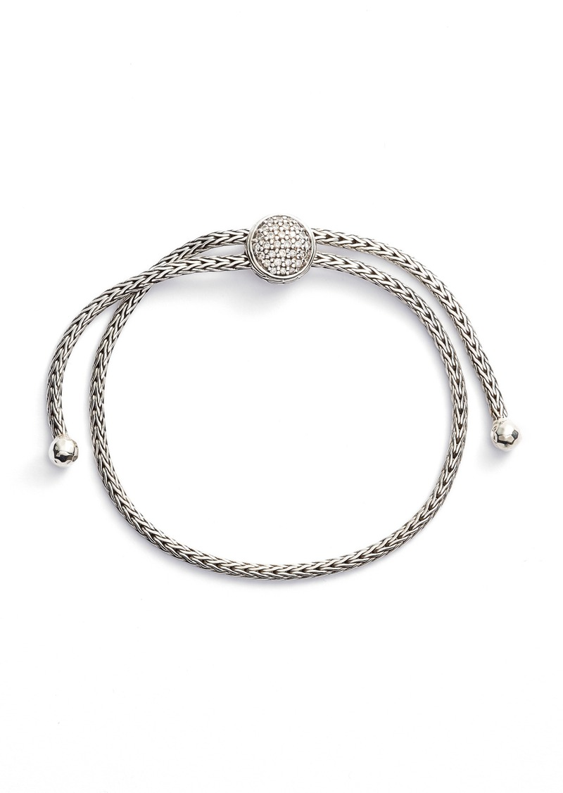 John Hardy Classic Chain Diamond Pull Through Bracelet