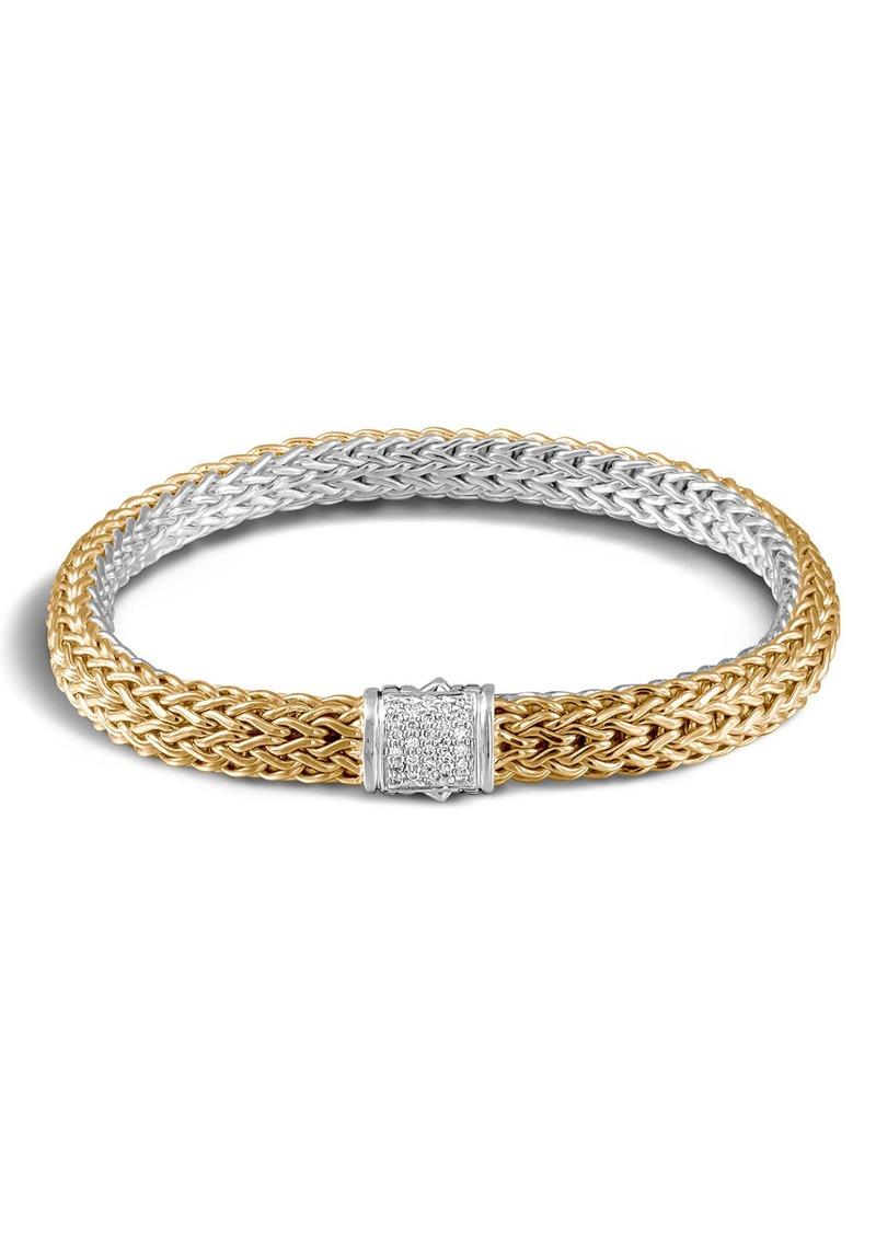 John Hardy 'Classic Chain' Diamond Two-Tone Bracelet, 6.5mm