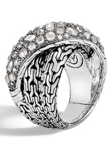 John Hardy Classic Chain Grey Diamond Pavé Crossover Ring