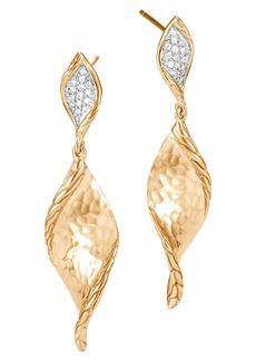 John Hardy Classic Chain Hammered Gold Drop Earrings with Diamonds