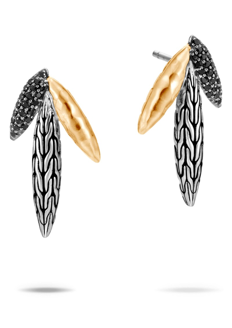 John Hardy Classic Chain Hammered Spear Two-Tone Earrings