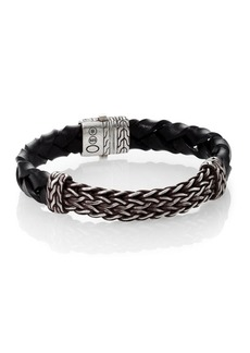 John Hardy Classic Chain Leather & Silver Bracelet