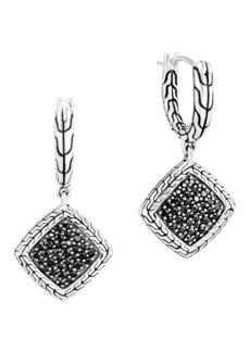 John Hardy Classic Chain Silver Square Huggie Hoop Drop Earrings