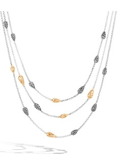 John Hardy Classic Chain Wave Hammered Multi Row Necklace