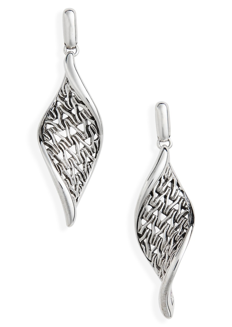 John Hardy Classic Chain Wave Silver Drop Earrings